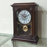 European Style Retro Wooden Craft swing Table Clock Home Decoration Mute Table Clock Handicraft Vintage Music desktop Clock