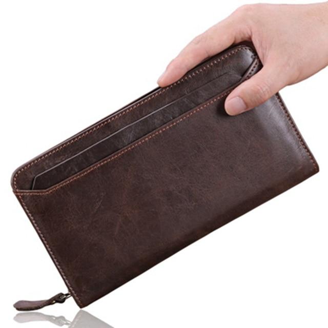 100% Пояса из натуральной кожи сумка Для мужчин бумажник Длинные молнии Для мужчин кошелек высокое качество мужской портмоне Брендовая Дизайнерская обувь carteira кошельки