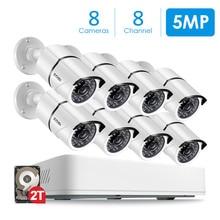 ZOSI 8CH HD 5.0MP открытый/камера безопасности для помещений Системы с 8×5 Мп 2560*1920 HD CCTV Камера предварительно установлены 2 ТБ жесткий диск