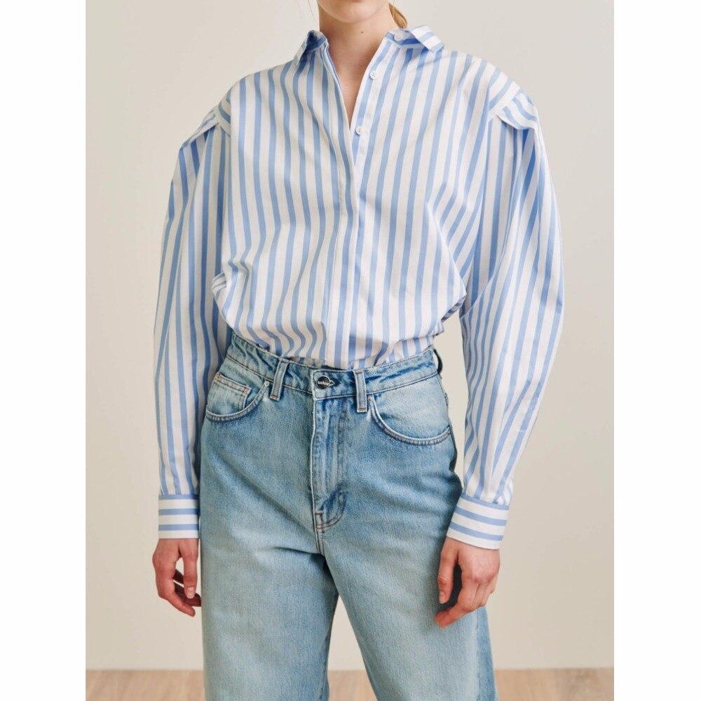 WISHBOP Priola camicia blu della banda del Lungo voluminoso maniche a pieghe dettagli spalle Logo ricamato Polsini Donna Camicette-in Camicette e gonne da Abbigliamento da donna su  Gruppo 1