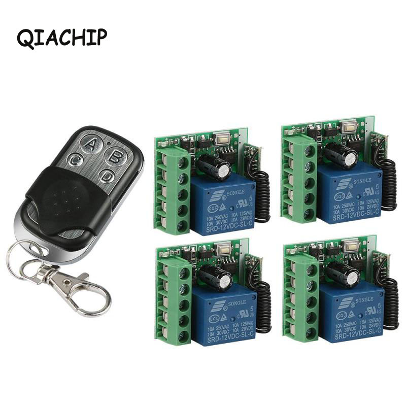 QIACHIP 433 MHz RF 4 Channel Transmitter Learning Code EV1527 and DC 12V Relay Receiver Module Mini DIY Light Garage Gate Switch dc 3 5v 12v mini relay switch receiver transmitter 433 92mhz