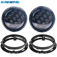 HJYUENG for Jeep Wrangler Jk Tj for Harley Davidson Superbright 105W 7Inch Round LED Headlight with White/ amber Turn Signal DRL