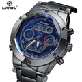 Brand LIANDU Sport Watch Analog LCD Dual Time Display Date Alarm Stopwatch Steel Band 30m Waterproof Men's Quartz Digital Watch