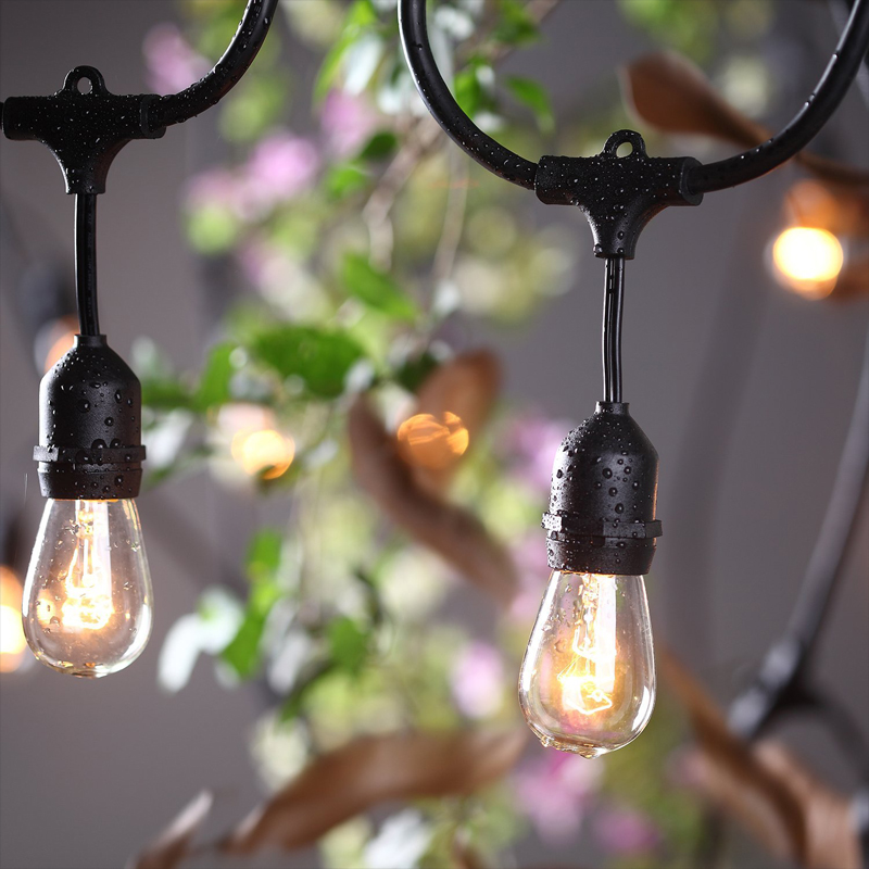 Outdoor connectable string light for wedding with led bulb UL list US standard SPT cable 48ft 15pcs lamp holder