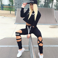 In The Autumn Of 2016 Aliexpress Selling Women S New Stamp Hoodie Hole Pants Two Piece