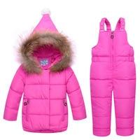 BibiCola kids girl winter clothes set girls down coat children warm toddler warm velvet outerwear+ romper clothing suits
