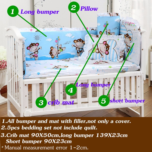 5PCS Newborn Baby Crib Bedding Set