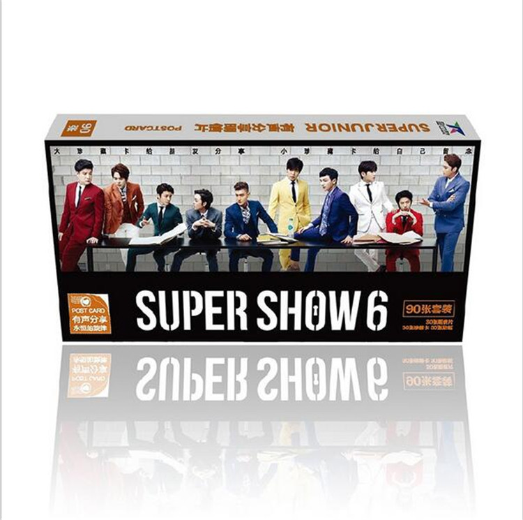 Kpop 2016 Latest Official Super Junior 90 Collectible K-pop SJ Set Concert Super Show6 Album Lyrics LOMO