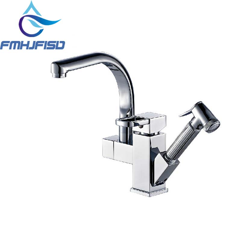 Deck Mounted Chrome Brass Kitchen Faucet Pull Out Sprayer Vessel Bar Sink Faucet Single Handle Hole Mixer Tap new pull out sprayer kitchen faucet swivel spout vessel sink mixer tap single handle hole hot and cold