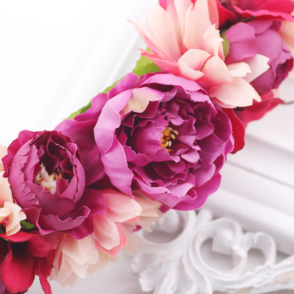 Purple Girls Fashion Flowers Headband Bridesmaid Wreath Hair