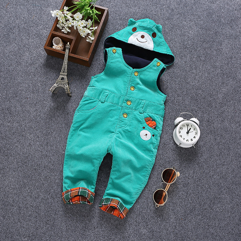 6m- 3Years Baby Rompers Winter Girls Boys Overalls Toddler Warm Velvet Bear Hooded Infant Long Pants Kids jumpsuit Pink Blue