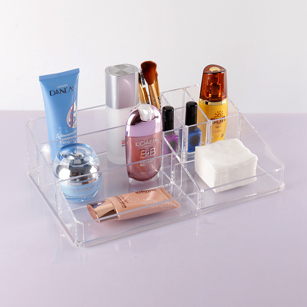 High Quality Large Capacity Transparent Plastic Cosmetic Organizer Crystal Acrylic Dress Makeup Bathroom Desktop Storage Box