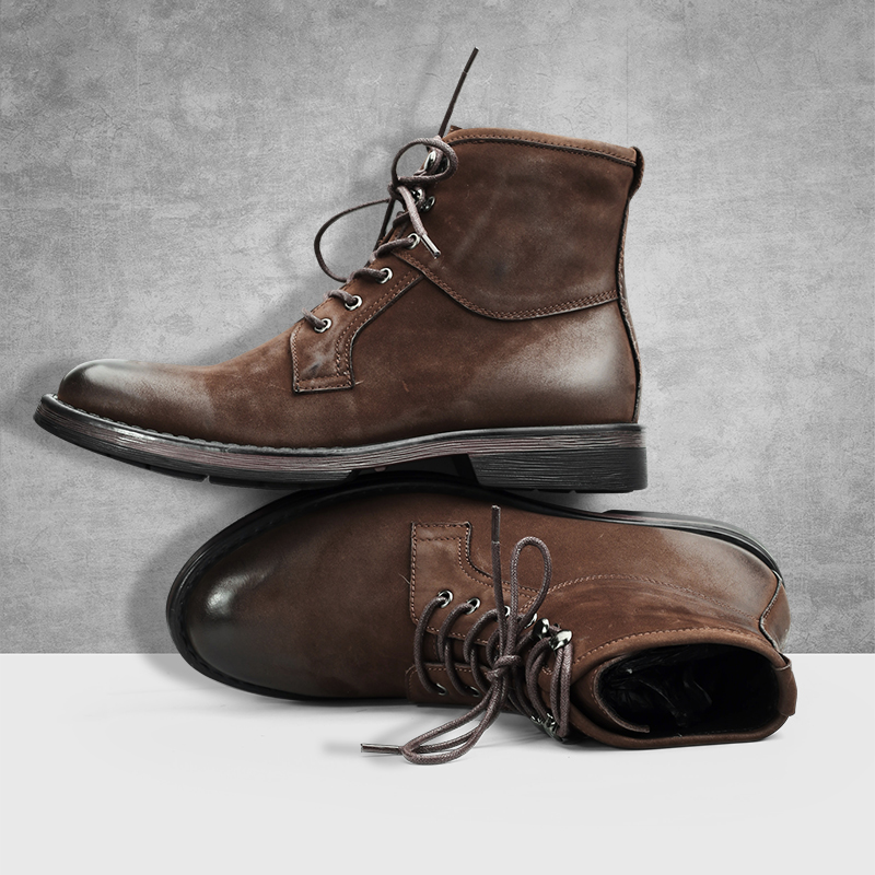 Men's Riding boots Genuine leather men retro short Chelsea boots British business leisure high-top shoes autumn winter cowhide