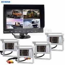 DIYSECUR 9 Inch Split Quad Display Rear View Monitor + White 4 x CCD Camera for Car Truck Bus Video Surveillance System