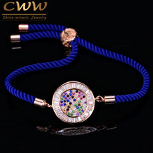 CWWZircons Fashion Rose Gold Color Cubic Zirconia Stones Round Charm Handmade Blue Rope Bracelets Women Handmade Jewelry CB003(China)
