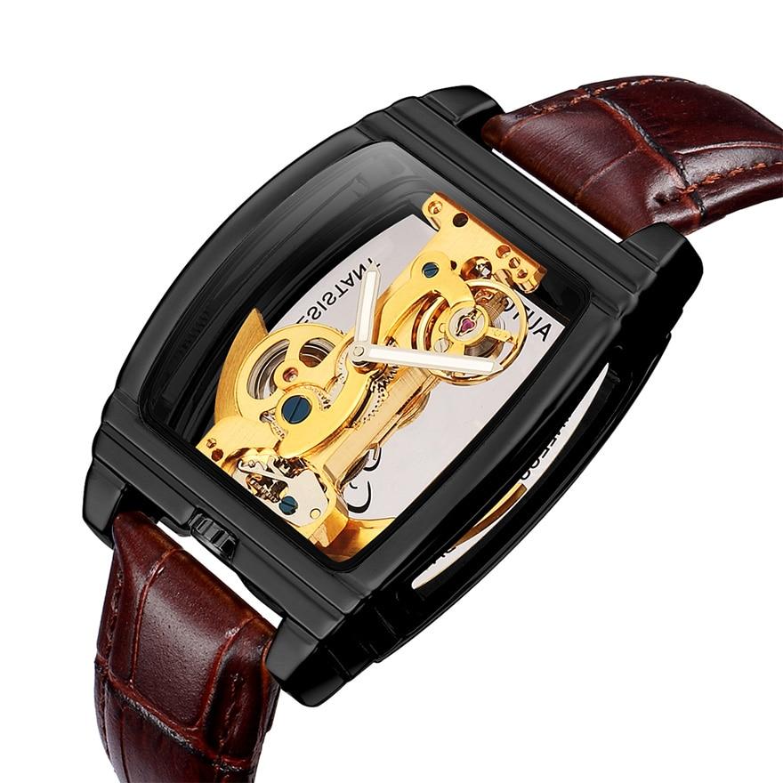 HTB1z.7LSrvpK1RjSZPiq6zmwXXaz Transparent Automatic Mechanical Watch Men Steampunk Skeleton Luxury Gear Self Winding Leather Men's Clock Watches montre homme