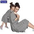 Vestidos mãe filha família roupas combinando listrado ocasional de manga comprida roupas clothing família mãe e filha vestido
