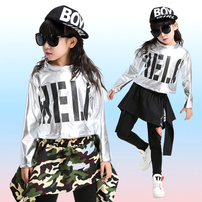 160085405 Free Shipping Children Hip Hop Dance Costumes Kids Girls Stage Competition  Ballroom Dancing Clothes Hiphop Jazz Dancewear
