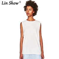 LINSHOW 2017 New Listing White Sleeveless Women T Shirt O Neck Drawstring Toyouth Summer Women Tops