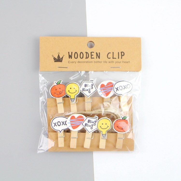 Forceful 10 Pcs/lot Creative Bling Bling Wooden Clip Photo Paper Clothespin Craft Clips Party Decoration Clip With Hemp Rope Crazy Price Office Binding Supplies