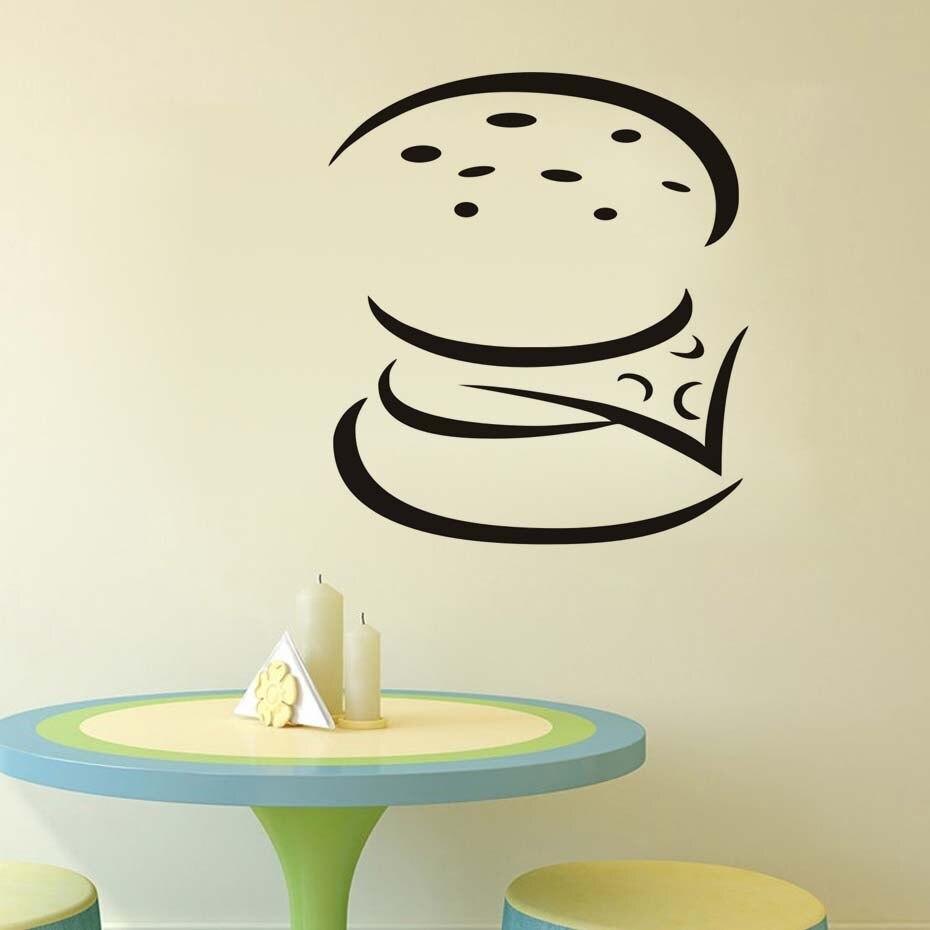 diy simple pochoir creux out burger cuisine stickers muraux home decor vinyle art mural decal. Black Bedroom Furniture Sets. Home Design Ideas