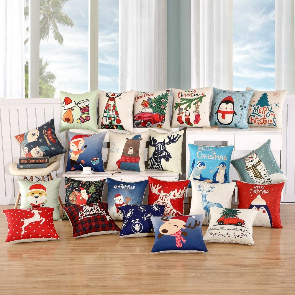 1pcs 45x45cm pillow case merry christmas decorations for home cartoon elk linen decorative pillows cover cushion home decor - Christmas Decorative Pillows