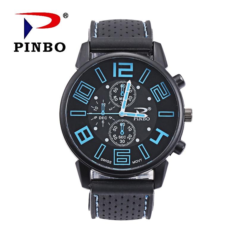 Zegarki Meskie Brand PINBO 2017 Noi ceasuri de moda pentru bărbați Casual Sporturi în aer liber Ceasuri de mână Silicon Quartz Ceas de mână Reloj Hombre Hot