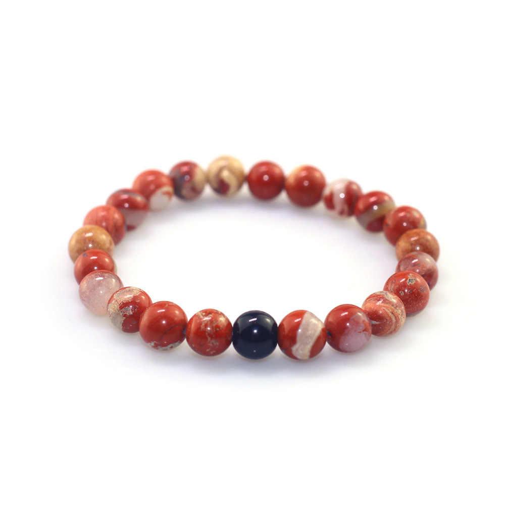 8 мм один круг 2019 для мужчин и женщин пара натуральный камень из бисера браслет черный светлый камень красный камень сочетание мужские ювелирные изделия