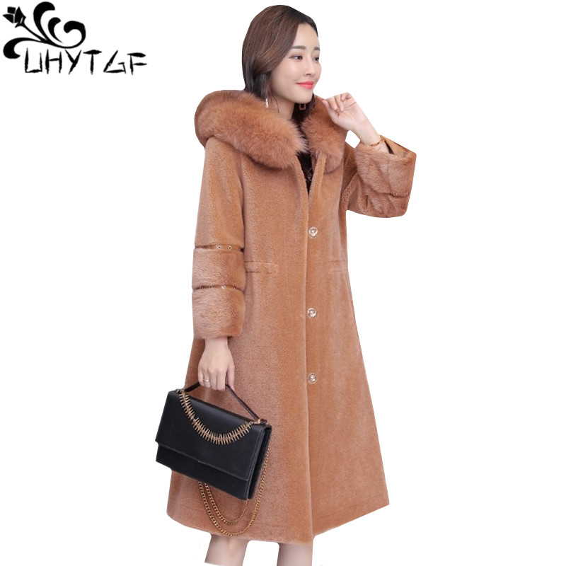 UHYTGF Winter faux fur Coat Women Sheep sheared Slim Coat luxury Mink hair Warm Outerwear faux Fox fur Hooded fur Overcoat 951-in Faux Fur from Women's Clothing    1