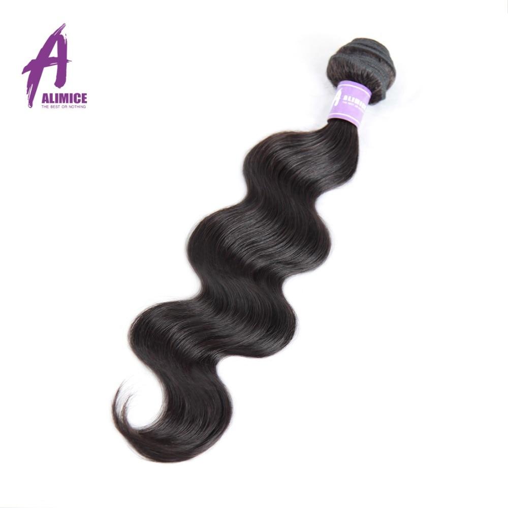 Alimice Indian Body Wave pelo no Remy paquetes de cabello 1PC color - Cabello humano (negro)