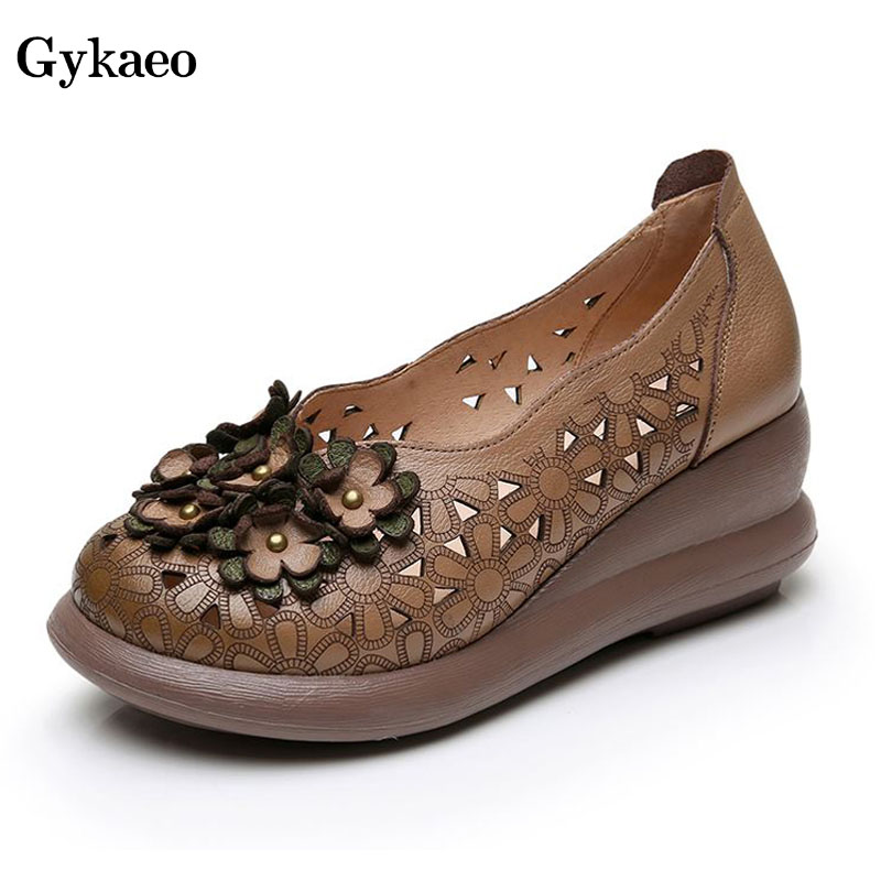 Gykeao Pumps Women Shoes Summer High Heels Round Toe Genuine Leather Casual Sandals Ladies Shoes Woman