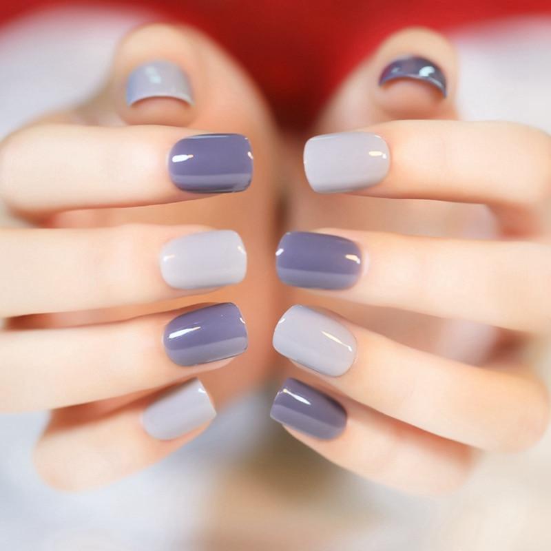 2016 New 24pcs Grandma Grey False Nail Tips Fake Nails Normal Length ...