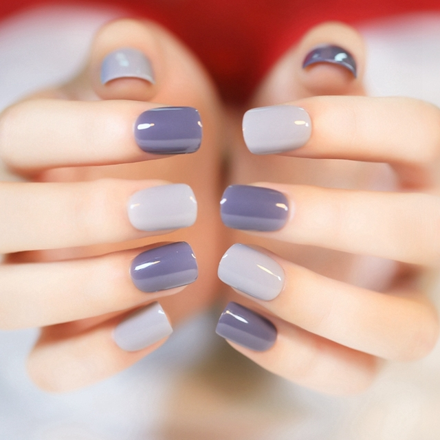 2016 New 24pcs Grandma Grey False Nail Tips Fake Nails Normal Length Flat Top Full Cover