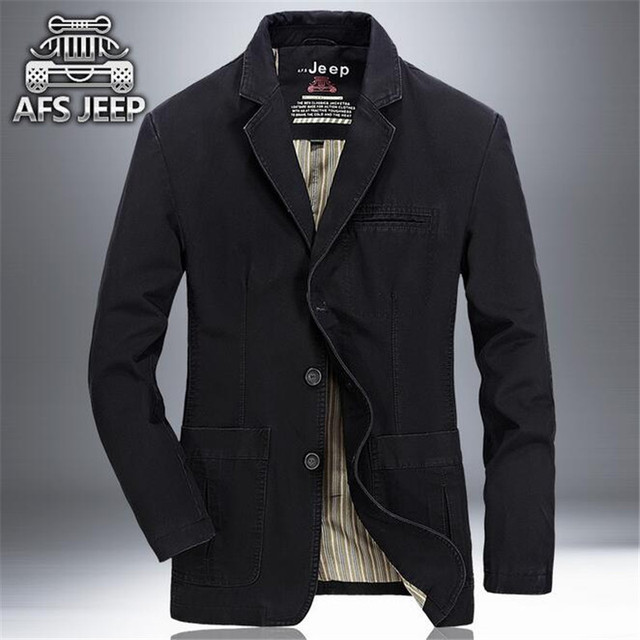 AFS Jeep Preto/Verde/Khaki dos homens 2016 Novo Estilo Da Marca 100% Algodão Único Botões Cardigan Sólida Casuais Blazer, Outono Outwear