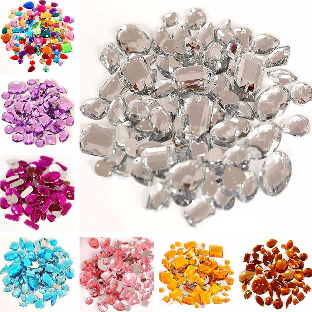 100pcs pack Mixed Shapes Crystal Acrylic Sew On Rhinestones Mixed Sizes  Sewing Rhinestones Acrylic Stass 6c15f8cda910
