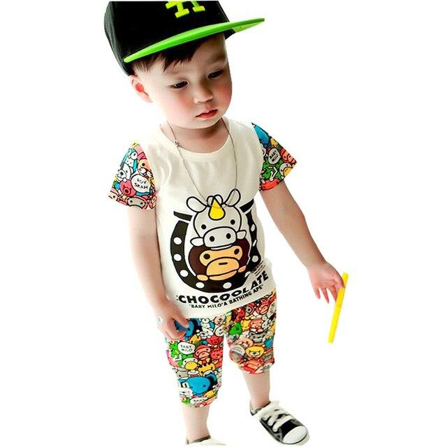 2015 летний новый детская одежда высокого качества Хлопка детская одежда набор Футболки + шорты 2 шт. для 0-3 года мальчиков одежда