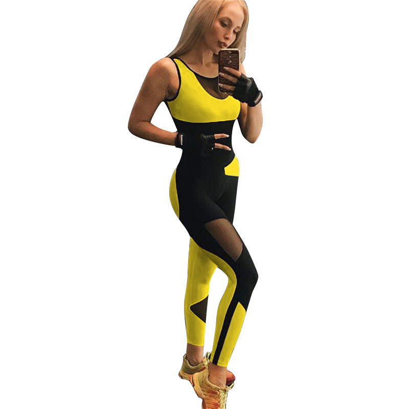 Sports Wear For Women Backless One Peice Gym Set Mesh Yellow Workout Jumpsuit Active Wear Sportswear For Women Fitness Clothes