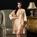 Summer new long-sleeved silk robe bathrobes pure silk suspenders pajamas piece fitted tracksuit