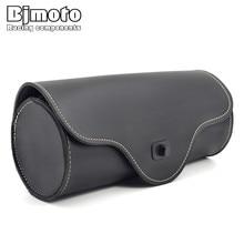 Bjmoto PU Leather Motorcycle tool Saddle Luggage Side Back Tail Pouch Storage Bag for Harley Universal SaddleBag