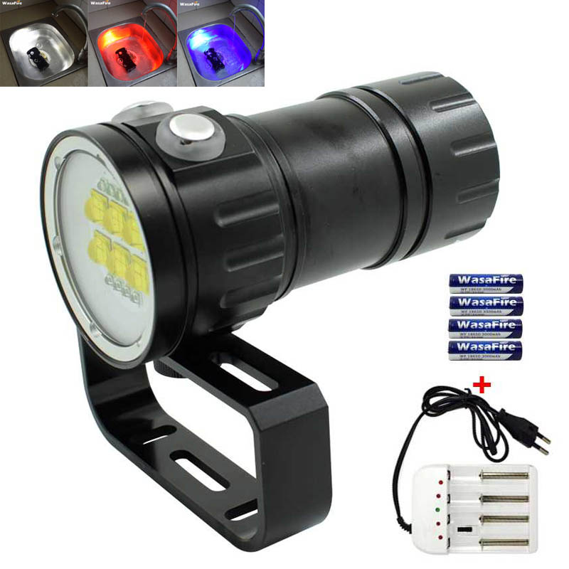 Diving 20000Lumen 6x 9090 White+4x Red +4x UV LED Dive Torch Light Underwater Video Diving Flashlight Lamp 18650 Battery Charger ...