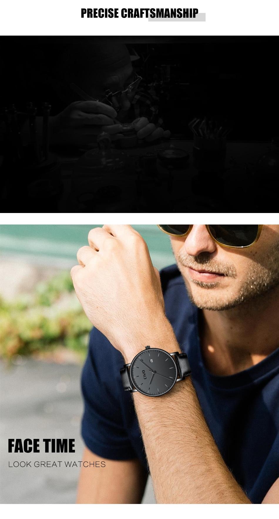 CIVO Men Watch Ultra Thin Minimalist Waterproof Date Wrist Watch For Men Black Genuine Leather Business Fashion Watch Men Clock 7