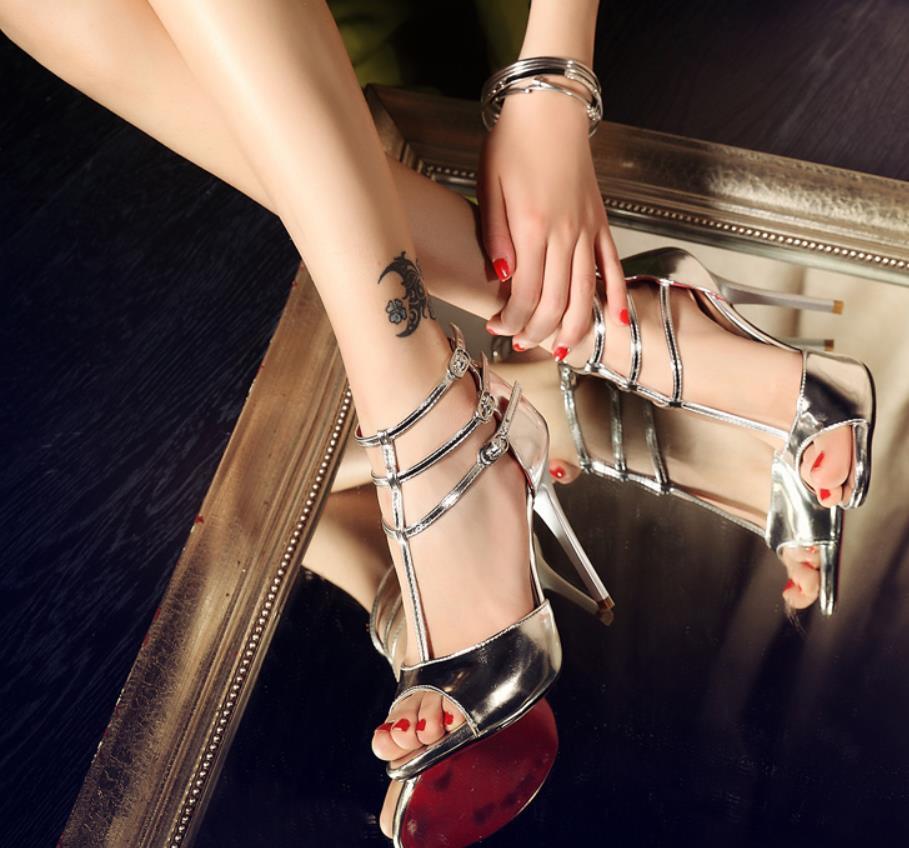 Talons Mode Bouche D'été Nouvelle Sexy Discothèque argent queue La À Printemps Coréenne Sandales Or De Fine Version Et Poissons Hauts 7Ygybf6