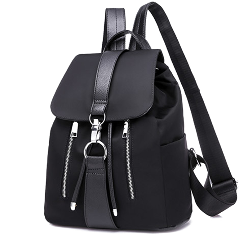 Women Backpack School Bags For Teenager Girls Nylon Zipper Lock Design Black Femme Mochila Female Backpack Fashion Sac A Dos(China)