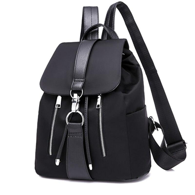Mochila feminina sacos de escola para adolescentes meninas náilon zíper bloqueio design preto femme mochila feminina moda sac a dos