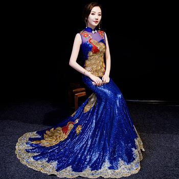 Luksusowe królewskie niebieskie chińskie suknie wieczorowe przepiękne długie Cheongsams cekiny dżetów haft Backless suknia wieczorowa qipao tanie i dobre opinie Poliester spandex Wei R 18 Satin StarYi Princess Women Shanghai China (Mainland) Chinese Traditional Dress Wedding Cheongsam Dress