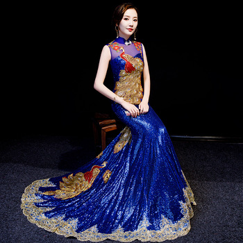 Luxury Royal Blue Chinese Evening Dresses Gorgeous Long Cheongsams Sequins/Rhinestones/Embroidery Backless Prom Gown qipao