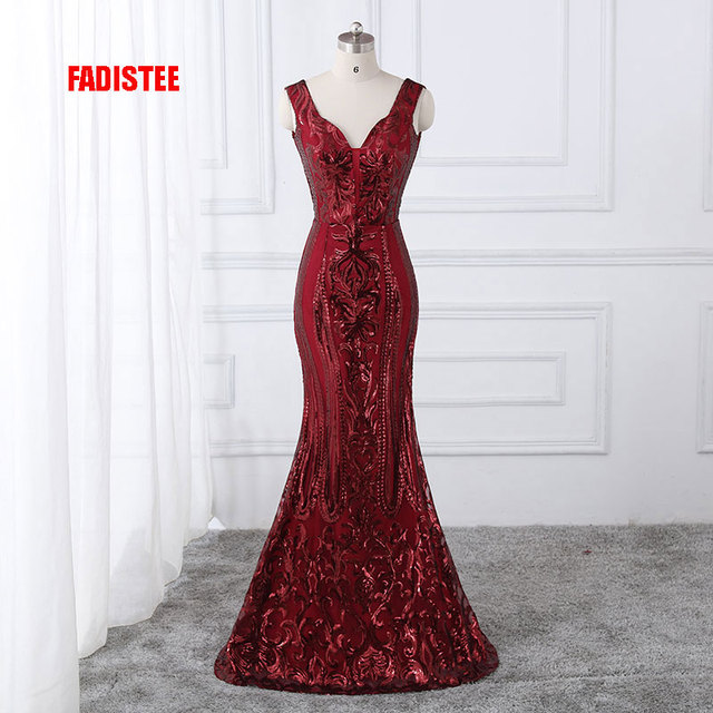 FADISTEE New arrival classic party dress evening dresses prom bling Vestido  de Festa luxury pattern sexy V-neck sequins style 71730a2f05ea