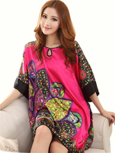 2014 Summer Sexy Silk Nightgown Dress Women Short Sleeves Elegant Nightdress Plus Size Silk Lounge Satin Female Sleepshirts