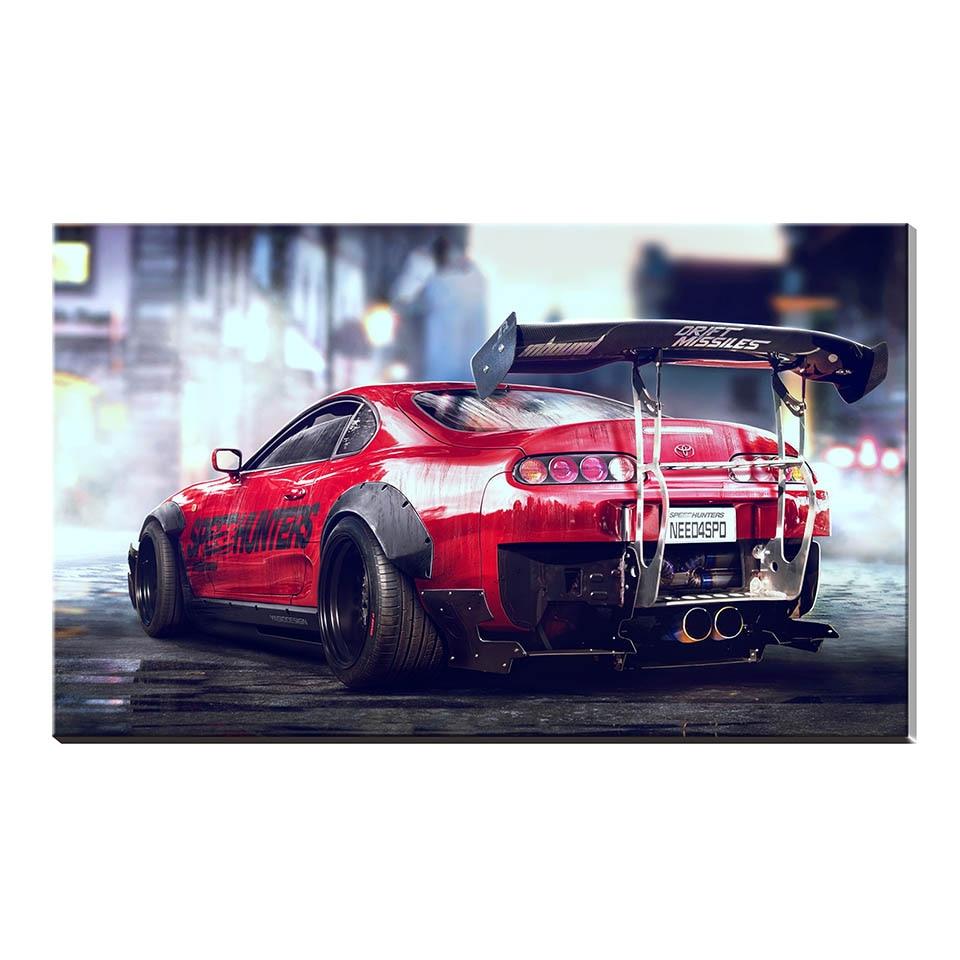 Toyota Sports Car: Artwork Canvas Painting Toyota Sports Car Bugatti Chiron