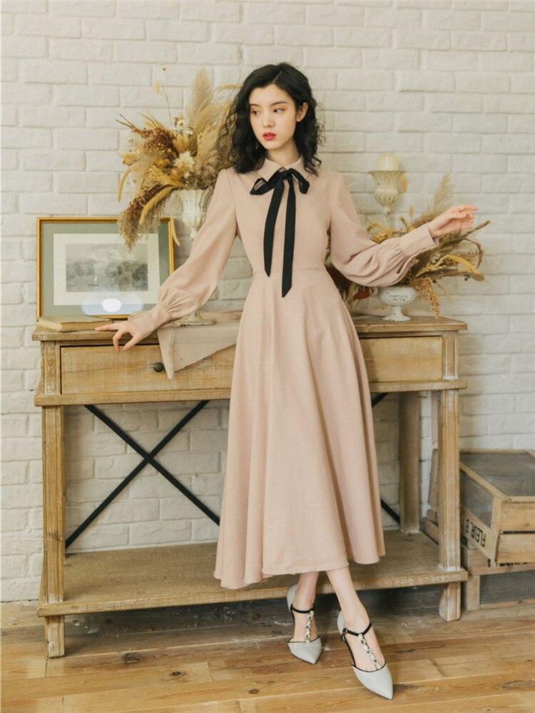 Новые модные женские платья весенние французские Ретро приталенные Базовые платья